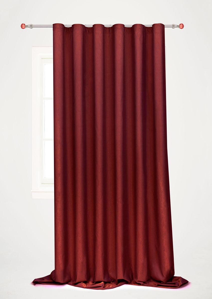Штора готовая для гостиной Garden, на ленте, цвет: бордовый, 200 х 260 см. С 536097 V108С 536097 V108Готовая портьерная штора для гостиной Garden выполнена из 100% полиэстера. Богатая текстура материала и изысканная цветовая гамма привлекут к себе внимание и органично впишутся в интерьер помещения. Изделие оснащено шторной лентой для красивой сборки. Штора Garden великолепно украсит любое окно.