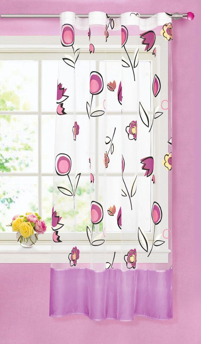 Штора готовая для кухни Garden, на ленте, цвет: фиолетовый, высота 180 см. С8155-W1160КV7С 5222 - W260 V19Яркая тюлевая штора Garden выполнена из органзы (полиэстера) с добавлениемхлопка. Сочетание плотной и полупрозрачной ткани, приятная цветовая гамма,цветочный принт привлекут к себе внимание и органично впишутся в интерьерпомещения. Такая штора идеально подходит длясолнечных комнат. Мягко рассеивая прямые лучи, она хорошо пропускает дневнойсвет и защищает от посторонних глаз. Отличное решение для многослойногооформления окон. Эта штора будет долгое время радовать вас и вашу семью!Штора крепится на карниз при помощи ленты, которая поможет красиво иравномерно задрапировать верх.