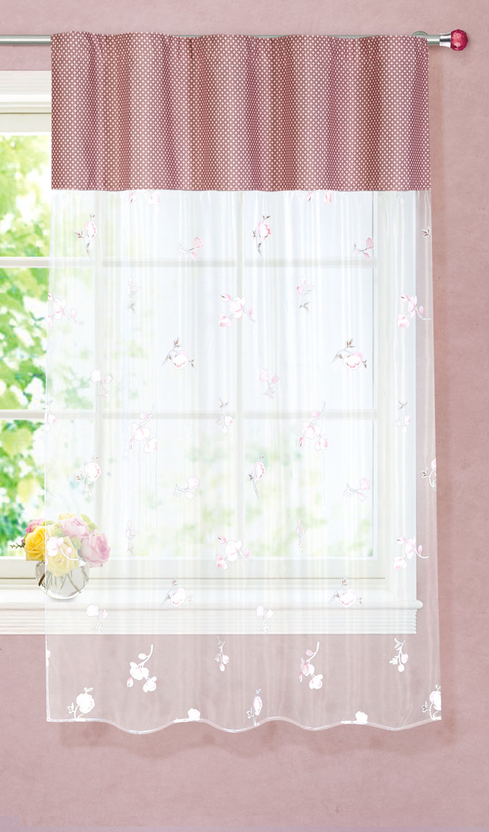 Штора готовая для кухни Garden, на ленте, цвет: розовый, размер 150*180 см. С 9144 - W260 - W1687 V13С 9144 - W260 - W1687 V13Тюлевая штора для кухни Garden выполнена из легкой органзы (полиэстера) с цветочным рисунком. Легкая текстура материала и яркая цветовая гамма привлекут к себе внимание и станут великолепным украшением кухонного окна. Штора добавит уюта и послужит прекрасным дополнением к интерьеру кухни.Изделие оснащено шторной лентой для красивой сборки.