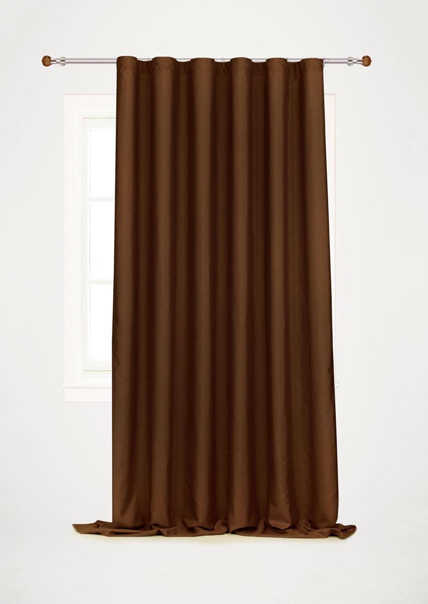 Штора готовая для гостиной Garden, на ленте, цвет: коричневый, размер 200*260 см. С W1687 V78067