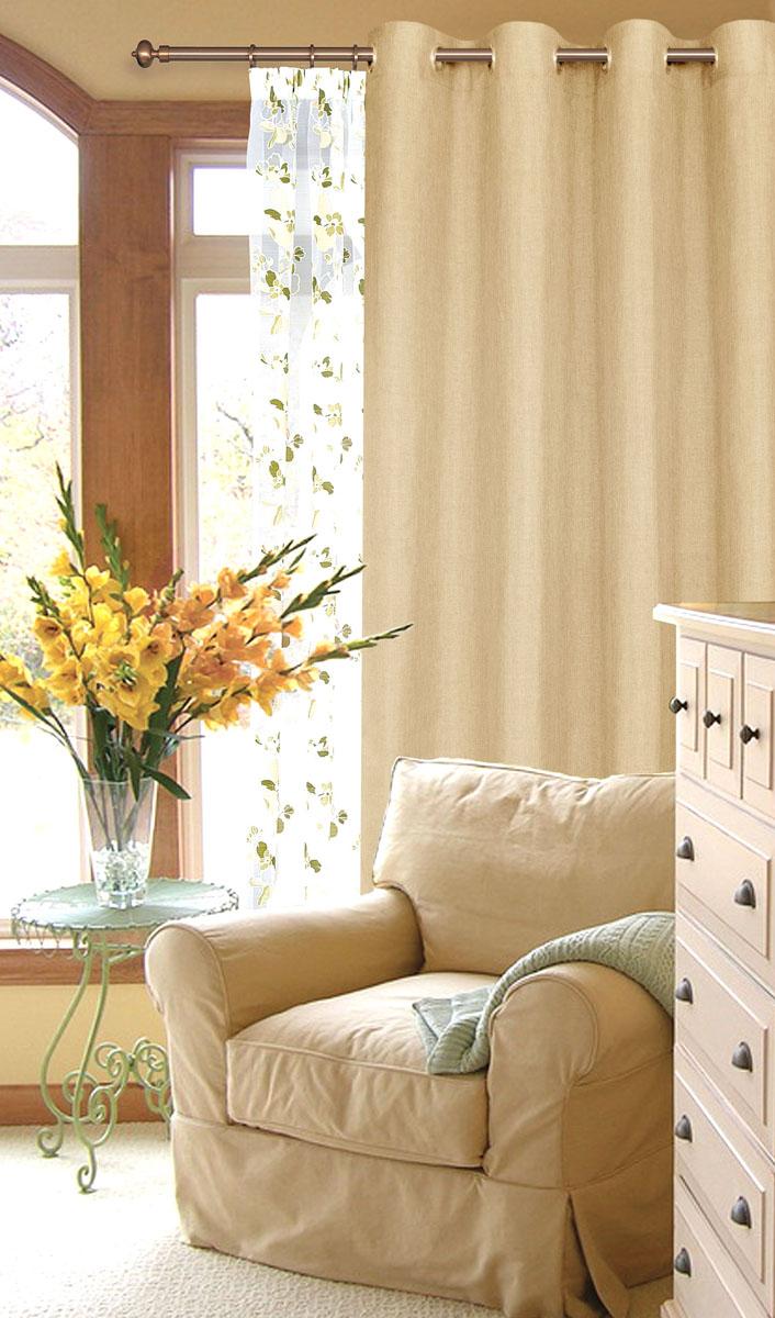 Штора готовая для гостиной Garden, на люверсах, цвет: сливочный, размер 200*260 см. С W1884 V71178721672Готовая штора-портера Garden, выполненная из ткани рогожка (плотного полиэстера крупного плетения), привлечетк себе внимание и органично впишется в интерьер помещения. Изделие оснащенопластиковыми люверсами, для подвешивания на карниз-трубу, которые гармоничносмотрятся и легко скользят по карнизу.Шторы на люверсах идеально подойдут для гостиной, а также для детской комнаты, так какребенку вряд ли удастся ее сорвать. Штора Garden великолепно украсит любое окно.