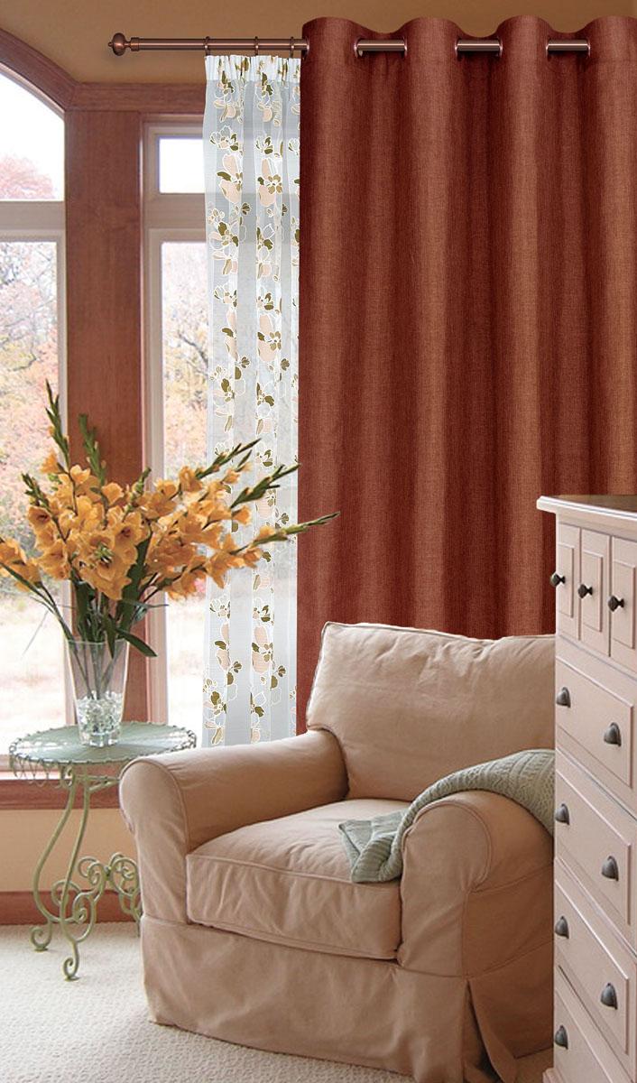 Штора готовая для гостиной Garden, на люверсах, цвет: брусничный, размер 200*260 см. С W1884 V74164С 535123 V2277Готовая штора-портера Garden, выполненная из ткани рогожка (плотного полиэстера крупного плетения), привлечетк себе внимание и органично впишется в интерьер помещения. Изделие оснащенопластиковыми люверсами, для подвешивания на карниз-трубу, которые гармоничносмотрятся и легко скользят по карнизу.Шторы на люверсах идеально подойдут для гостиной, а также для детской комнаты, так какребенку вряд ли удастся ее сорвать. Штора Garden великолепно украсит любое окно.