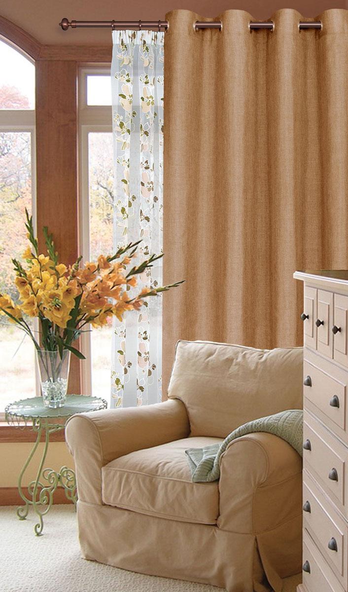 Штора готовая для гостиной Garden, на люверсах, цвет: светло-коричневый, размер 200*260 см. С W1884 V78076С W1884 V78076Готовая штора-портера Garden, выполненная из ткани рогожка (плотного полиэстера крупного плетения), привлечет к себе внимание и органично впишется в интерьер помещения. Изделие оснащено пластиковыми люверсами, для подвешивания на карниз-трубу, которые гармонично смотрятся и легко скользят по карнизу. Шторы на люверсах идеально подойдут для гостиной, а также для детской комнаты, так как ребенку вряд ли удастся ее сорвать.Штора Garden великолепно украсит любое окно.