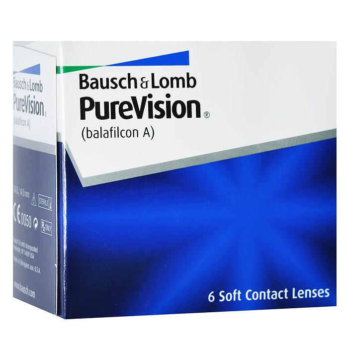 Bausch + Lomb контактные линзы PureVision (6шт / 8.6 / -5.25)ФМ000000199Контактные линзы Pure Vision - это революционная разработка компании Bausch+Lomb!Использование новейших технологий дает возможность носить эту модель на протяжении месяца, не снимая. Ваши глаза не будут подвержены раздражению благодаря очень высокой кислородопроницаемости линз и особой конструкции линзы. Вам больше не придется надевать контактные линзы каждое утро, а вечером снимать их. Стоит лишь раз надеть линзы и заменить их новой парой через 30 дней.Технология AerGel используемая в Pure Vision, обеспечивает естественный уровень поступления кислорода к роговице глаза. Это достигается за счет соединения силикона и уникального гидрогеля. Технология обработки поверхности Performa делает контактные линзы постоянно увлажненными, повышает устойчивость к отложениям, делает зрение пациента максимально острым. Революционная конструкция линз Pure Vision позволяет улучшить подвижность, делает линзы очень тонкими и гладкими. Контактные линзы имеют подкраску для простоты использования.Внимание: плюсовые диоптрии производятся только в радиусе кривизны 8.3.Замена через 1 месяц. Характеристики:Материал: балафилкон А. Кривизна: 8.6. Оптическая сила:- 5.25. Содержание воды: 36%. Диаметр: 14 мм. Количество линз: 6 шт. Размер упаковки: 7,5 см х 7 см х 4 см. Производитель: США. Товар сертифицирован.