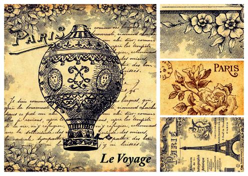 Рисовая карта для декупажа Париж 1, формат А3 рисовая карта для декупажа этикетки формат а3