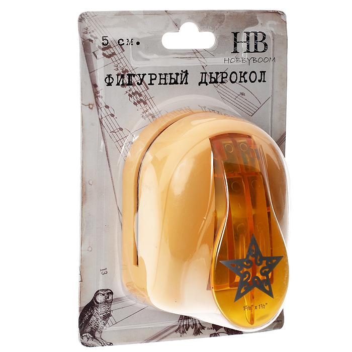 Дырокол фигурный Hobbyboom Звезда резная, №7, цвет: оранжевый, 5 см дырокол фигурный hobbyboom для края 5 3 8 см