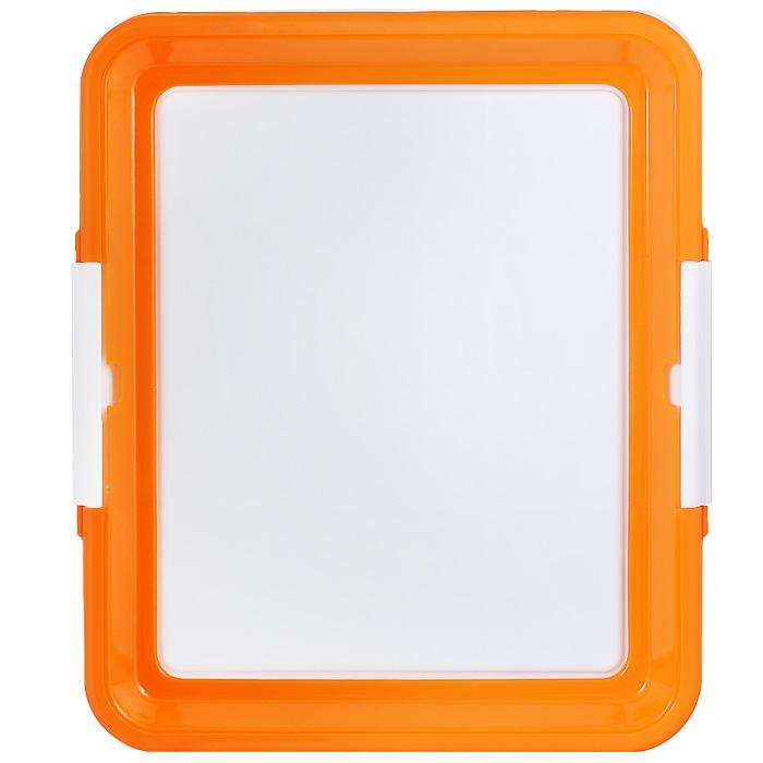 Туалетный лоток для собак Triol, цвет: белый, оранжевый игрушка triol столбик и туннель цвет кремовый коричневый 24 х 21 х 23 см