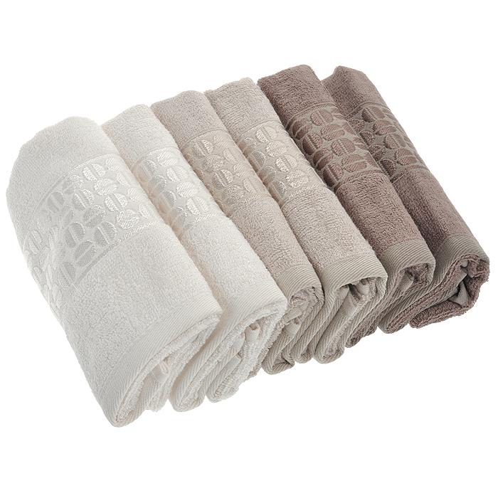 Набор лицевых полотенец Coffee Bean, цвет: оттенки коричневого, 30 х 50 см, 6 шт