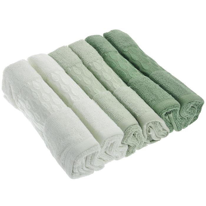 Набор лицевых полотенец Carla, цвет: оттенки зеленого, 30 см х 50 см, 6 шт набор лицевых полотенец aqua marin цвет оттенки голубого 30 см х 50 см 6 шт
