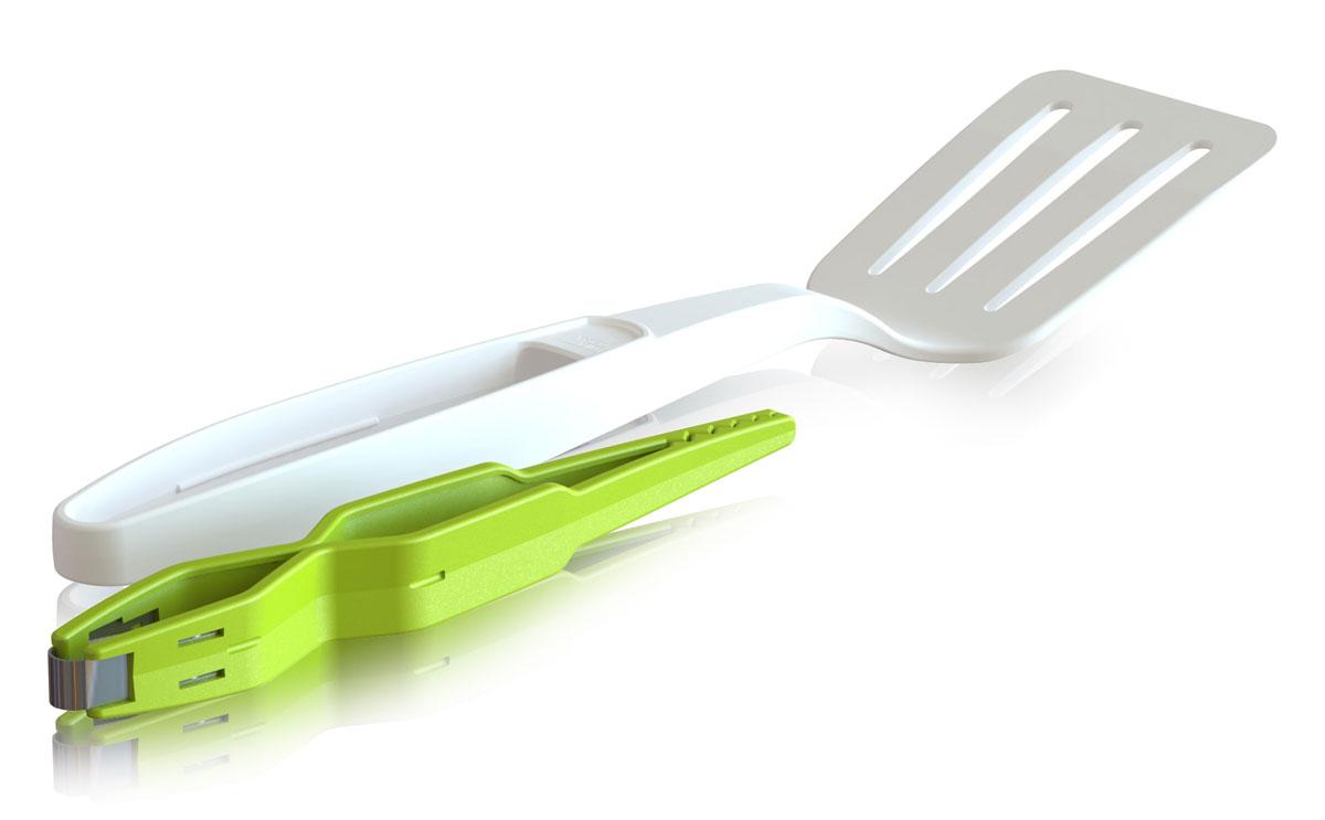 Лопатка + щипцы VacuVin, цвет: зеленый, белый4667660Инструменты VacuVin имеют широкий диапазон использования. С помощью лопатки можно перевернуть более крупные ингредиенты. Щипцы, которые хранятся в рукоятке, помогут захватить и перевернуть более мелкие продукты во время приготовления. Изделия выполнены из прочного нейлона, идеально подходят для антипригарных покрытий.Удобные и простые в использовании устройства станут достойным дополнением к коллекции ваших кухонных аксессуаров.
