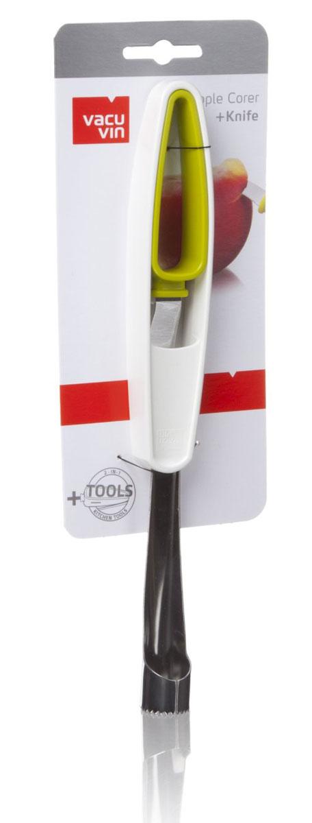 Нож для чистки яблок и удаления сердцевины VacuVin Apple corer + Knife4663660НожAppleCorer +Knife легко удаляет сердцевину из яблок, а с помощью специального ножа в рукоятке можно очистить и нарезать все видыфруктов. Подготовитьфрукты к употреблению теперь станет намного проще!Характеристики:Материал:металл, пластик. Размер ножа для удаления сердцевины:26 см x 3 см х 2 см. Размер ножа:13,5 см х 2,5 см х 2 см. Размер упаковки:28 см x 9,5 см x 3 см.