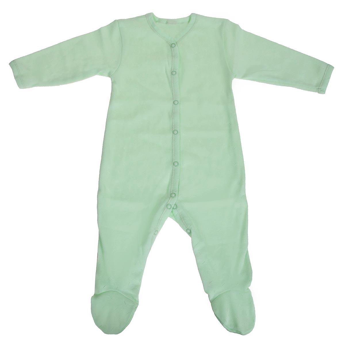 Комбинезон детский Lucky Child Ажур, цвет: зеленый. 0-12. Размер 74/800-12Детский комбинезон Lucky Child - очень удобный и практичный вид одежды для малышей. Комбинезон выполнен из натурального хлопка, благодаря чему он необычайно мягкий и приятный на ощупь, не раздражают нежную кожу ребенка и хорошо вентилируются, а эластичные швы приятны телу малыша и не препятствуют его движениям. Комбинезон с длинными рукавами и закрытыми ножками имеет застежки-кнопки от горловины до щиколоток, которые помогают легко переодеть младенца или сменить подгузник.Модель выполнена из ткани с ажурным узором. С детским комбинезоном Lucky Child спинка и ножки вашего малыша всегда будут в тепле, он идеален для использования днем и незаменим ночью. Комбинезон полностью соответствует особенностям жизни младенца в ранний период, не стесняя и не ограничивая его в движениях!