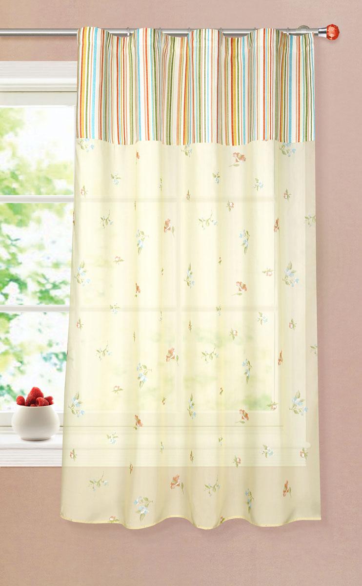 Штора готовая для кухни Garden, на ленте, цвет: желтый, размер 150*180 см. С 8175 - W356 - W1687 V16С 8175 - W356 - W1687 V16Тюлевая штора для кухни Garden выполнена из микро батиста (полиэстера) с изображением цветов. Легкая текстура материала и яркая цветовая гамма привлекут к себе внимание и станут великолепным украшением кухонного окна. Штора добавит уюта и послужит прекрасным дополнением к интерьеру кухни.Изделие оснащено шторной лентой для красивой сборки.