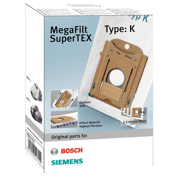 Bosch BBZ 41FKBBZ41FKBosch BBZ-41FK - комплект из 4-х мешков-пылесборников MegaFilt SuperTEX типа K. Специальный затвор обеспечивает высокий уровень гигиены при замене пылесборника. Пылесборники состоят из особого трёхслойного синтетического материала, способного задерживать в себе до 99% всасываемой пыли. В отличие от бумажных пылесборников, они на 30% эффективнее сохраняют мощность всасывания по мере заполнения пылью.