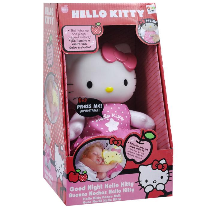 Ночник переносной Hello Kitty1102621Детский переносной ночник Hello Kitty прекрасно дополнит интерьер детской комнаты. Игрушка выполнена из безопасных материалов и представляет собой всеми любимую кошечку Китти с мягконабивным тельцем и головой-светильником. Мягкий свет и милый образ будут успокаивающе действовать на малыша, не напрягая детские глазки и не создавая излишнего светового излучения.Ночник не только будет охранять вашего ребенка во время сна, но еще станет его любимой игрушкой: нажмите на животик Китти, и ее голова засветится и заиграет приятная мелодия, которая успокоит кроху. Ночник абсолютно безопасен для ребенка, он не нагревается, оснащен долговечным светодиодом и автоматически выключается через некоторое время после включения. Характеристики:Материал: текстиль, пластик. Высота игрушки: 21 см. Размер упаковки (ДхШхВ): 17 см х 16 см х 30 см. Изготовитель: Китай. Рекомендуется докупить 3 батареи напряжением 1,5V типа ААА (товар комплектуется демонстрационными).