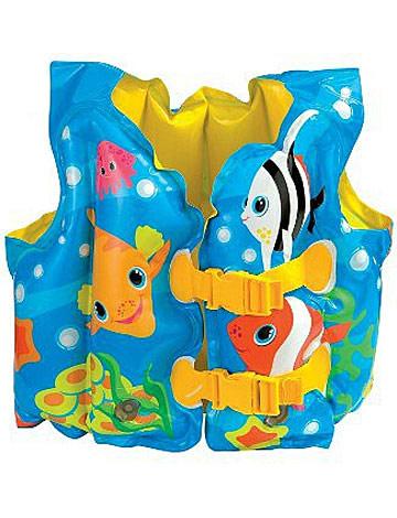 Детский надувной жилет Intex Морская звезда, цвет: синий, 41 см х 30 см надувной матрас camping mats 127х193х24см intex