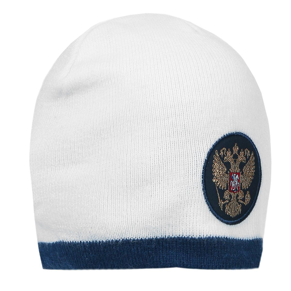 Шапка Россия, цвет: белый, синий. 11325. Размер L/XL (55-58) - Национальная Атрибутика