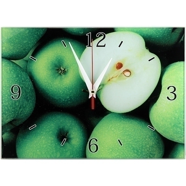 Часы настенные Яблоки, стеклянные, цвет: зеленый. 9530695306Оригинальные настенные часы Яблоки прямоугольной формы выполнены из стекла и оформлены изображением яблок. Часы имеют три стрелки - часовую, минутную и секундную. Циферблат часов не защищен. Необычное дизайнерское решение и качество исполнения придутся по вкусу каждому. Оформите совой дом таким интерьерным аксессуаром или преподнесите его в качестве презента друзьям, и они оценят ваш оригинальный вкус и неординарность подарка. Характеристики:Материал: пластик, стекло. Размер: 28 см x 20 см x 2 см. Размер упаковки: 30 см х 21,5 см х 4,5 см. Артикул: 95306. Работают от батарейки типа АА (в комплект не входит).
