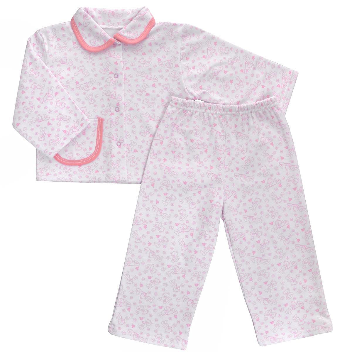 Пижама детская Трон-плюс, цвет: белый, розовый, рисунок мишки. 5552. Размер 98/104, 3-5 лет5552Яркая детская пижама Трон-плюс, состоящая из кофточки и штанишек, идеально подойдет вашему малышу и станет отличным дополнением к детскому гардеробу. Теплая пижама, изготовленная из набивного футера - натурального хлопка, необычайно мягкая и легкая, не сковывает движения ребенка, позволяет коже дышать и не раздражает даже самую нежную и чувствительную кожу малыша. Кофта с длинными рукавами имеет отложной воротничок и застегивается на кнопки, также оформлена небольшим накладным карманчиком. Штанишки на удобной резинке не сдавливают животик ребенка и не сползают.В такой пижаме ваш ребенок будет чувствовать себя комфортно и уютно во время сна.