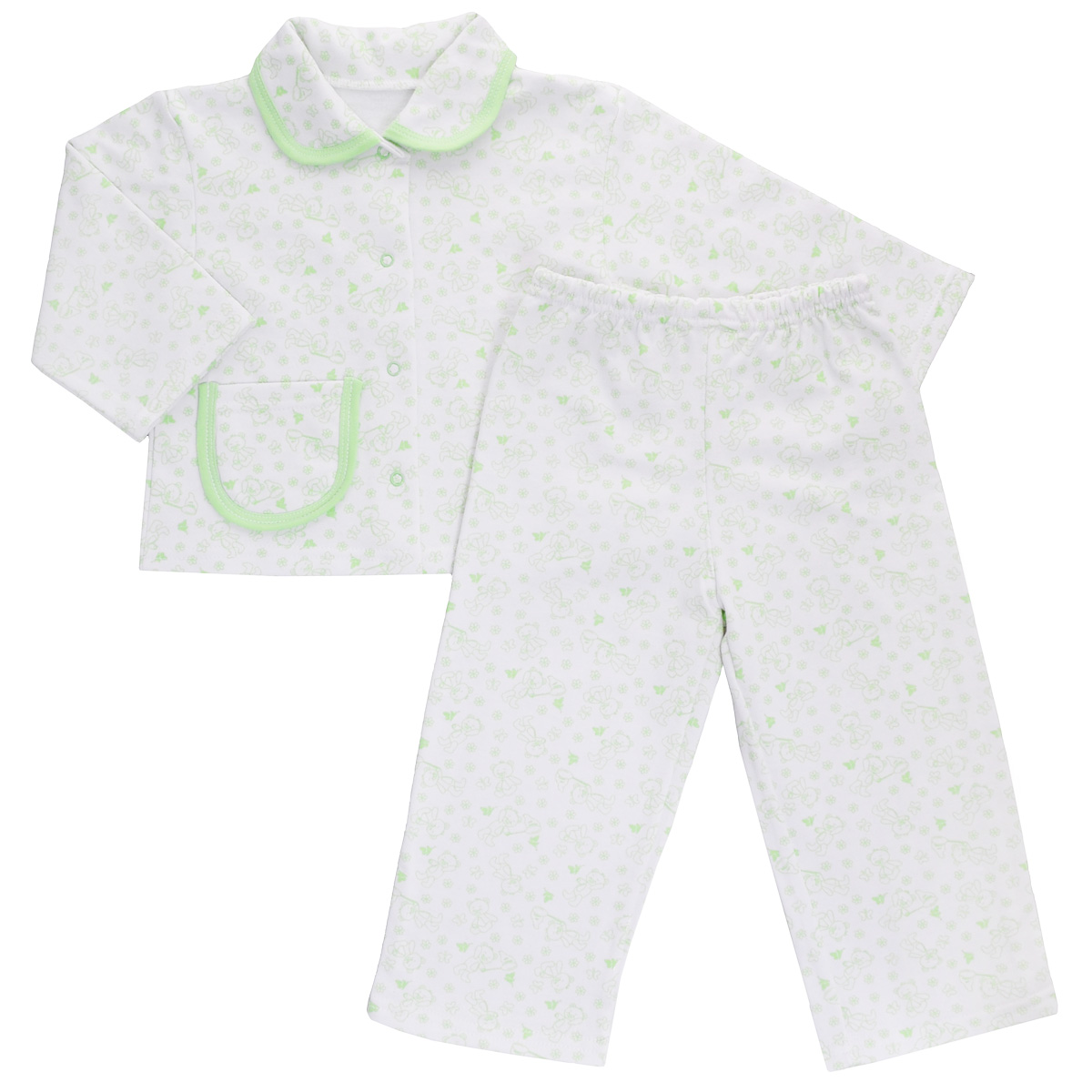 Пижама детская Трон-плюс, цвет: белый, салатовый, рисунок мишки. 5552. Размер 80/86, 1-2 года пижама детская трон плюс цвет белый голубой 5555 мишка размер 80 86 1 2 года