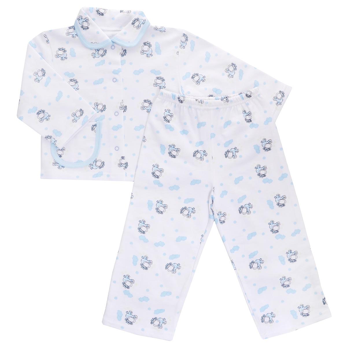 Пижама детская Трон-плюс, цвет: белый, голубой, рисунок коровки. 5552. Размер 80/86, 1-2 года5552Яркая детская пижама Трон-плюс, состоящая из кофточки и штанишек, идеально подойдет вашему малышу и станет отличным дополнением к детскому гардеробу. Теплая пижама, изготовленная из набивного футера - натурального хлопка, необычайно мягкая и легкая, не сковывает движения ребенка, позволяет коже дышать и не раздражает даже самую нежную и чувствительную кожу малыша. Кофта с длинными рукавами имеет отложной воротничок и застегивается на кнопки, также оформлена небольшим накладным карманчиком. Штанишки на удобной резинке не сдавливают животик ребенка и не сползают.В такой пижаме ваш ребенок будет чувствовать себя комфортно и уютно во время сна.