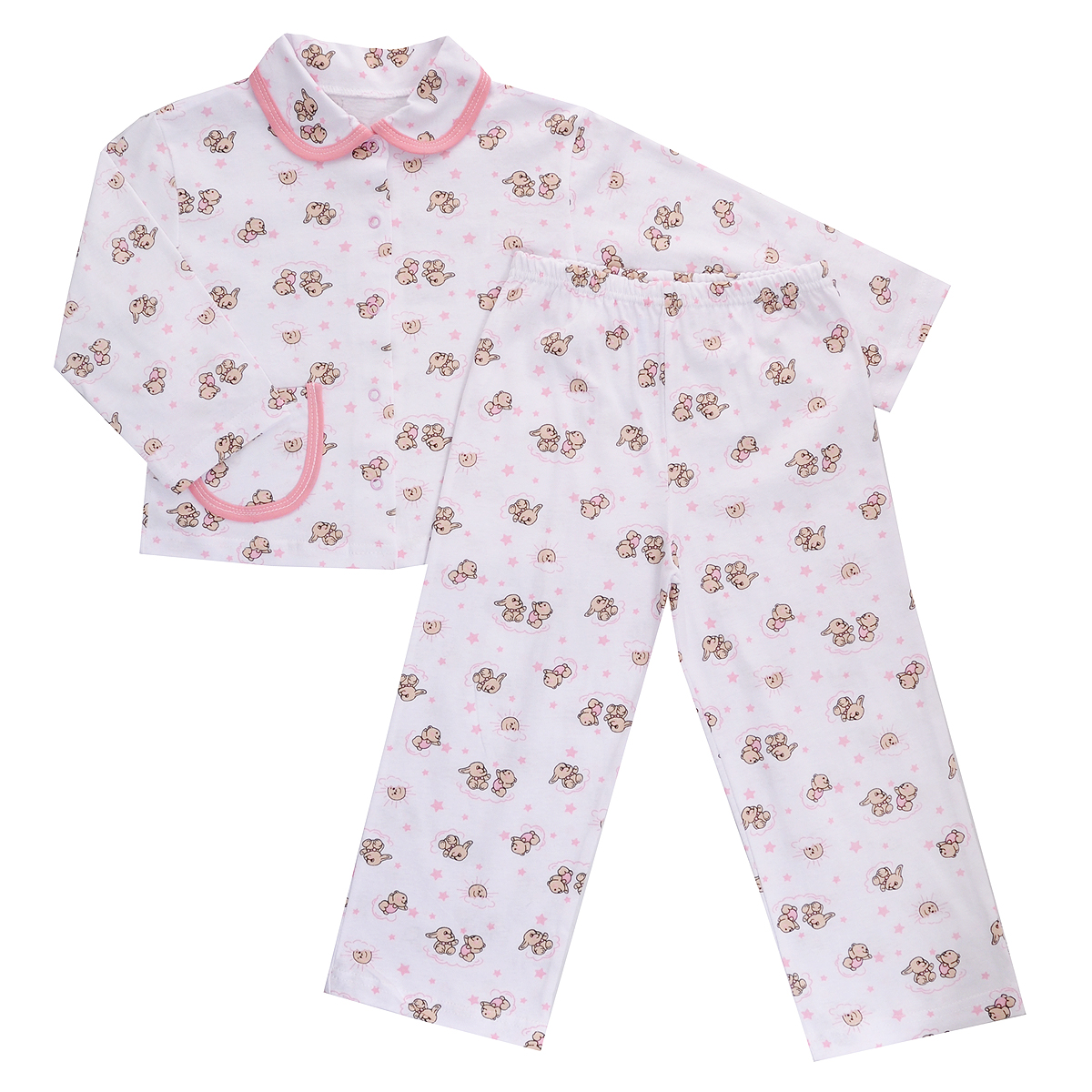Пижама детская Трон-плюс, цвет: белый розовый рисунок зайцы. 5562. Размер 98/104, 3-5 лет5562Яркая детская пижама Трон-плюс, состоящая из кофточки и штанишек, идеально подойдет вашему малышу и станет отличным дополнением к детскому гардеробу. Теплая пижама, изготовленная из кулирки - натурального хлопка, необычайно мягкая и легкая, не сковывает движения ребенка, позволяет коже дышать и не раздражает даже самую нежную и чувствительную кожу малыша. Кофта с длинными рукавами имеет отложной воротничок и застегивается на кнопки, также оформлена небольшим накладным карманчиком. Штанишки на удобной резинке не сдавливают животик ребенка и не сползают.В такой пижаме ваш ребенок будет чувствовать себя комфортно и уютно во время сна.