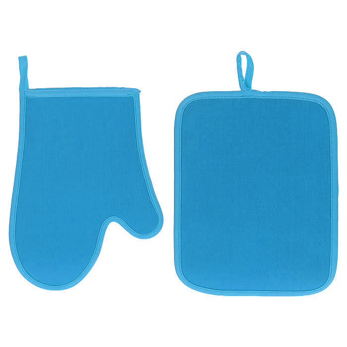 Набор Premier Housewares: прихватка, рукавица, цвет: голубой0806550Набор Premier Housewares состоит из прихватки и рукавицы, выполненных из неопрена голубого цвета. Материал очень прочный, эластичный, способен выдерживать температуру до 220°С. Прихватки надежно защитят ваши руки от ожогов, а своим ярким дизайном украсят вашу кухню. Прихватки можно подвешивать благодаря имеющимся на них петелькам. Такой набор - отличный вариант для практичной и современной хозяйки. Характеристики: Материал: неопрен. Цвет: голубой. Размер прихватки: 24 см х 18,5 см. Размер рукавицы: 19 см х 26 см. Артикул: 0806550.