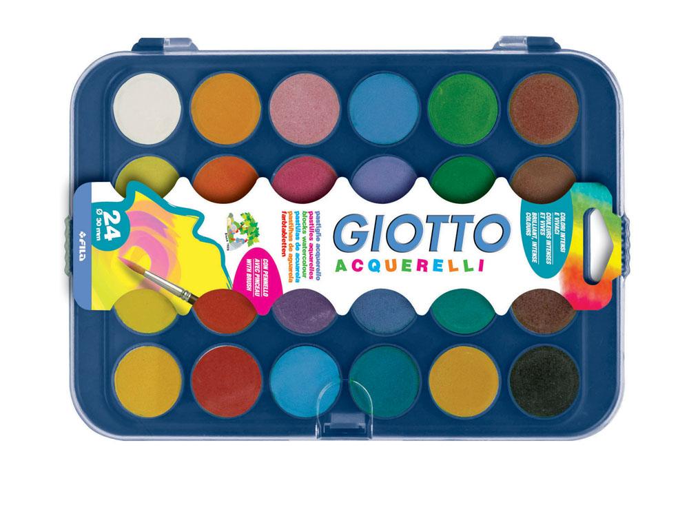 Акварель сухая в таблетках Giotto Acquerelli, 24 цвета332000Акварель Giotto Acquerelli - краска в сухих таблетках с высоким содержанием цветного пигмента. На бумаге образует яркие оттенки. Требует минимального количества воды. Интенсивность цвета можно регулировать количеством воды.Акварель Giotto Acquerelli предназначена для детского творчества и различных художественных работ, безвредна для здоровья ребенка.В комплект входит кисточка. Характеристики:Размер упаковки: 24,5 см x 17 см x 1 см.Диаметр одной ячейки с краской: 3 см. Изготовитель: Италия.