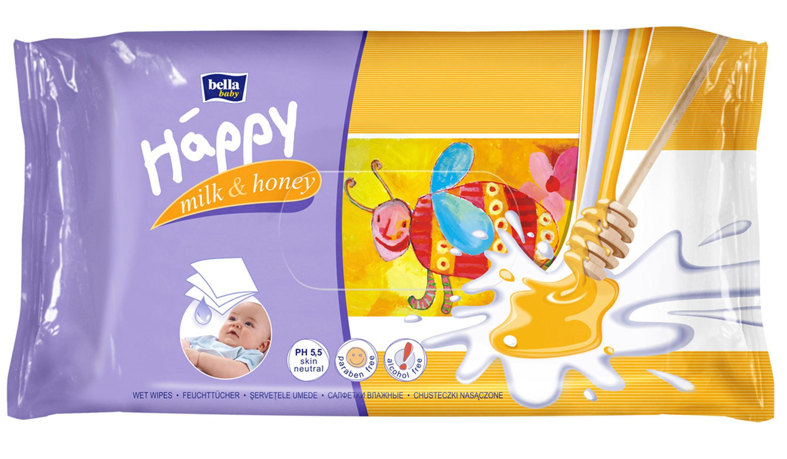 Bella Влажные салфетки Baby Happy Молоко и мед, 64 шт bella влажные салфетки baby happy молоко и мед 64 шт