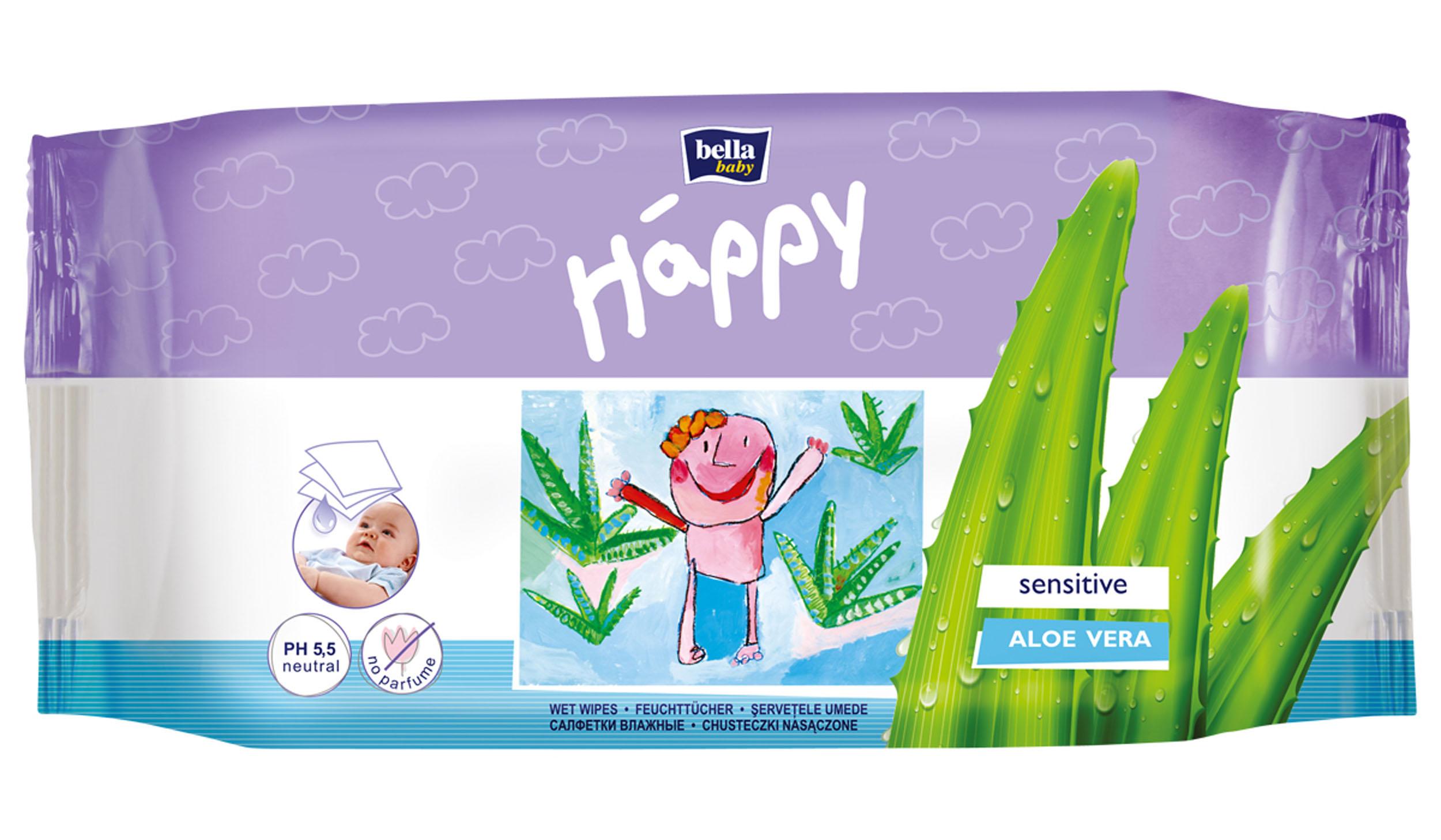 Bella Влажные салфетки Baby Happy Алое Вера, 56 шт bella влажные салфетки baby happy молоко и мед 64 шт