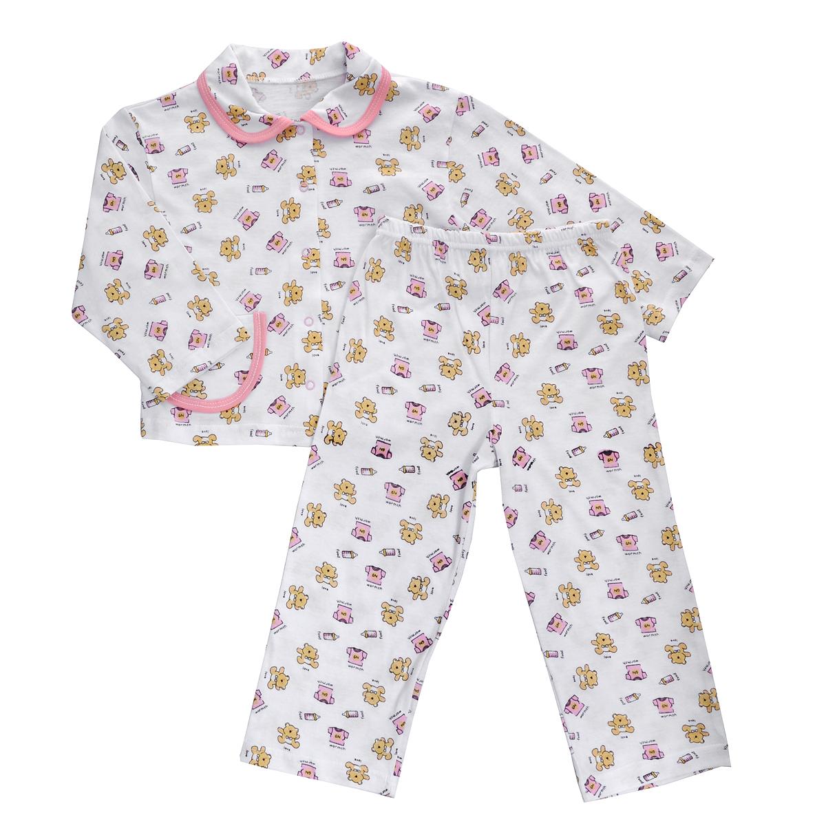 Пижама детская Трон-плюс, цвет: белый, розовый, рисунок мишки. 5562. Размер 86/92, 2-3 года5562Яркая детская пижама Трон-плюс, состоящая из кофточки и штанишек, идеально подойдет вашему малышу и станет отличным дополнением к детскому гардеробу. Теплая пижама, изготовленная из кулирки - натурального хлопка, необычайно мягкая и легкая, не сковывает движения ребенка, позволяет коже дышать и не раздражает даже самую нежную и чувствительную кожу малыша. Кофта с длинными рукавами имеет отложной воротничок и застегивается на кнопки, также оформлена небольшим накладным карманчиком. Штанишки на удобной резинке не сдавливают животик ребенка и не сползают.В такой пижаме ваш ребенок будет чувствовать себя комфортно и уютно во время сна.