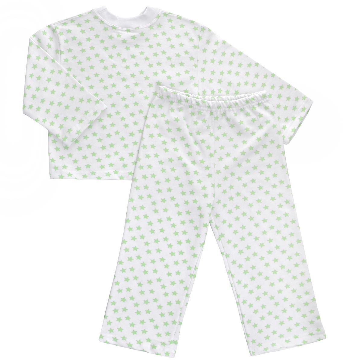 Пижама детская Трон-плюс, цвет: белый, салатовый, рисунок звезды. 5553. Размер 80/86, 1-2 года5553Яркая детская пижама Трон-плюс, состоящая из кофточки и штанишек, идеально подойдет вашему малышу и станет отличным дополнением к детскому гардеробу. Теплая пижама, изготовленная из набивного футера - натурального хлопка, необычайно мягкая и легкая, не сковывает движения ребенка, позволяет коже дышать и не раздражает даже самую нежную и чувствительную кожу малыша. Кофта с длинными рукавами имеет круглый вырез горловины. Штанишки на удобной резинке не сдавливают животик ребенка и не сползают.В такой пижаме ваш ребенок будет чувствовать себя комфортно и уютно во время сна.