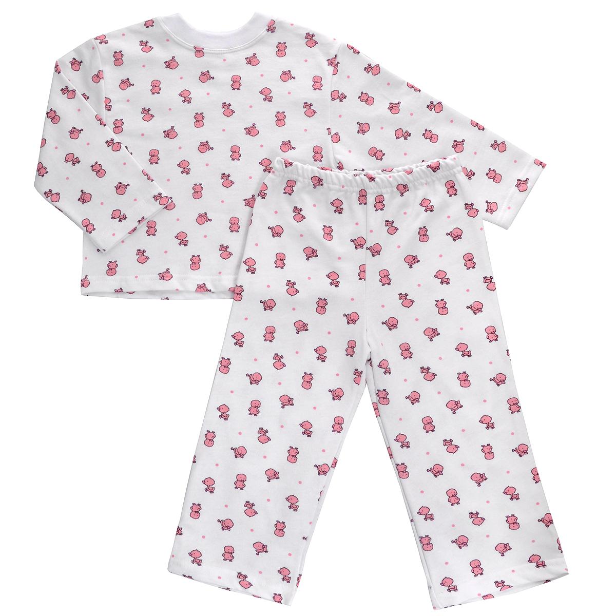 Пижама детская Трон-плюс, цвет: белый, розовый, рисунок утята. 5553. Размер 98/104, 3-5 лет5553Яркая детская пижама Трон-плюс, состоящая из кофточки и штанишек, идеально подойдет вашему малышу и станет отличным дополнением к детскому гардеробу. Теплая пижама, изготовленная из набивного футера - натурального хлопка, необычайно мягкая и легкая, не сковывает движения ребенка, позволяет коже дышать и не раздражает даже самую нежную и чувствительную кожу малыша. Кофта с длинными рукавами имеет круглый вырез горловины. Штанишки на удобной резинке не сдавливают животик ребенка и не сползают.В такой пижаме ваш ребенок будет чувствовать себя комфортно и уютно во время сна.
