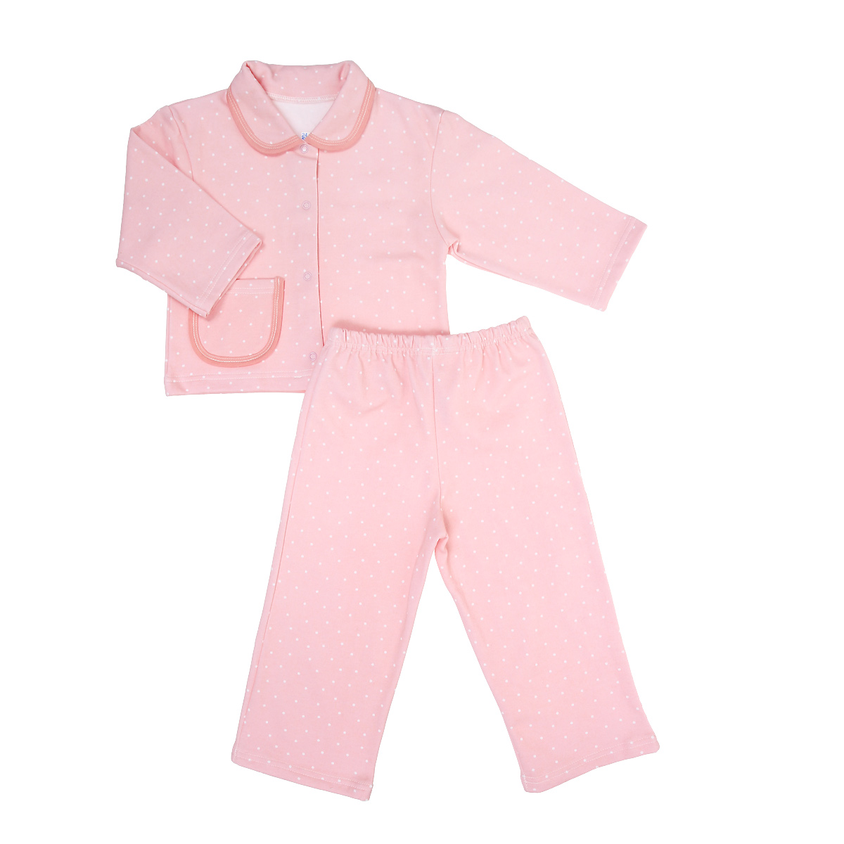 Пижама детская Трон-плюс, цвет: розовый, белый, рисунок горох. 5552. Размер 110/116, 4-8 лет автокресло крошка я я люблю путешествовать red grey 517437