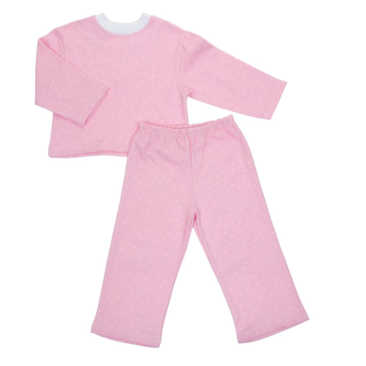 Пижама детская Трон-плюс, цвет: розовый, белый, рисунок горох. 5553. Размер 86/92, 2-3 года5553Яркая детская пижама Трон-плюс, состоящая из кофточки и штанишек, идеально подойдет вашему малышу и станет отличным дополнением к детскому гардеробу. Теплая пижама, изготовленная из набивного футера - натурального хлопка, необычайно мягкая и легкая, не сковывает движения ребенка, позволяет коже дышать и не раздражает даже самую нежную и чувствительную кожу малыша. Кофта с длинными рукавами имеет круглый вырез горловины. Штанишки на удобной резинке не сдавливают животик ребенка и не сползают.В такой пижаме ваш ребенок будет чувствовать себя комфортно и уютно во время сна.