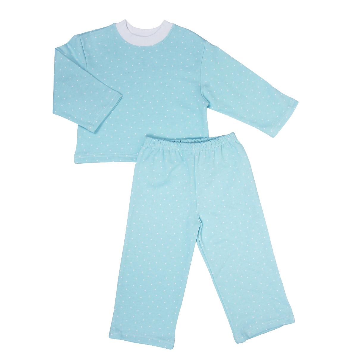 Пижама детская Трон-плюс, цвет: голубой, белый, рисунок горох. 5553. Размер 98/104, 3-5 лет5553Яркая детская пижама Трон-плюс, состоящая из кофточки и штанишек, идеально подойдет вашему малышу и станет отличным дополнением к детскому гардеробу. Теплая пижама, изготовленная из набивного футера - натурального хлопка, необычайно мягкая и легкая, не сковывает движения ребенка, позволяет коже дышать и не раздражает даже самую нежную и чувствительную кожу малыша. Кофта с длинными рукавами имеет круглый вырез горловины. Штанишки на удобной резинке не сдавливают животик ребенка и не сползают.В такой пижаме ваш ребенок будет чувствовать себя комфортно и уютно во время сна.