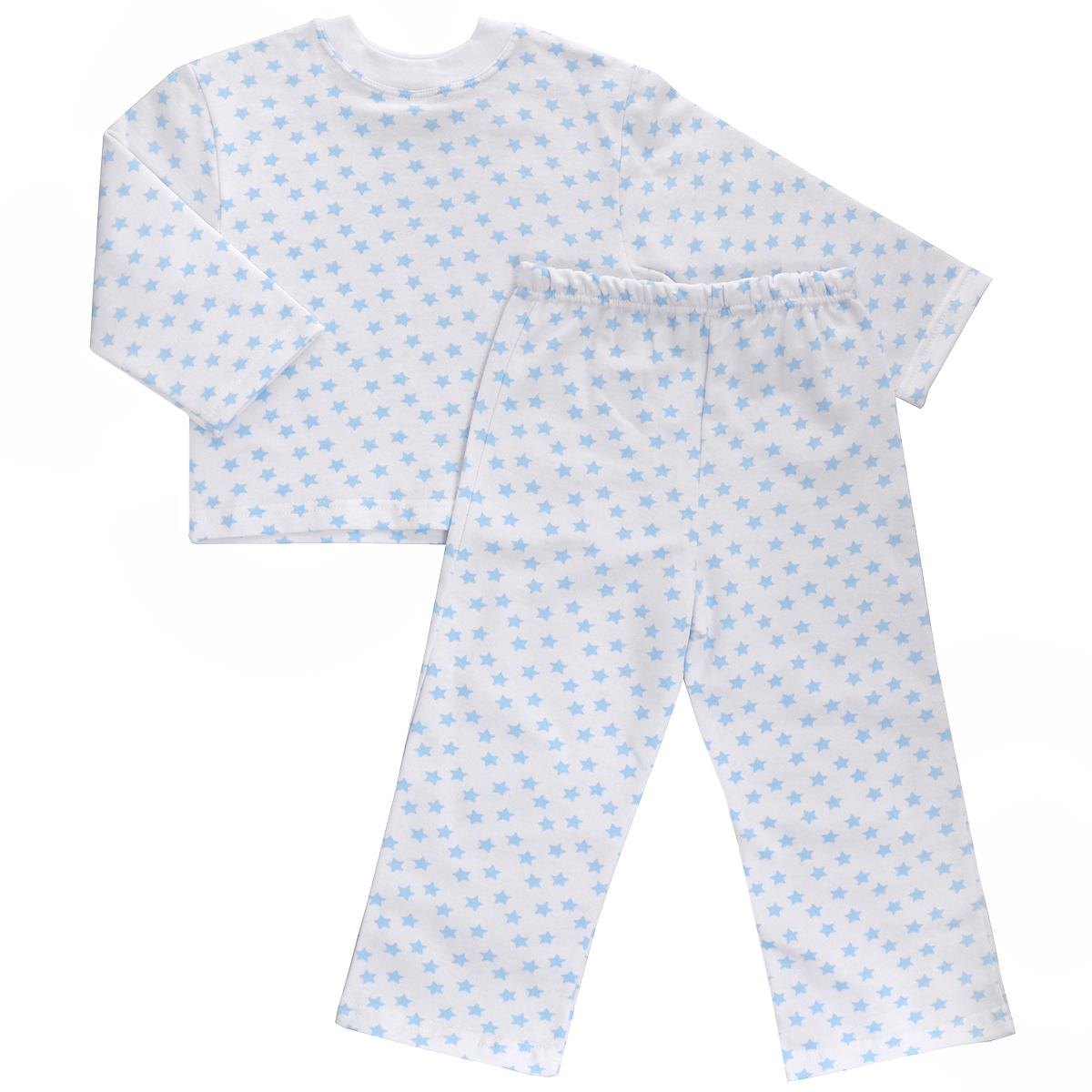 Пижама детская Трон-плюс, цвет: белый, голубой, рисунок звезды. 5553. Размер 122/128, 7-10 лет5553Яркая детская пижама Трон-плюс, состоящая из кофточки и штанишек, идеально подойдет вашему малышу и станет отличным дополнением к детскому гардеробу. Теплая пижама, изготовленная из набивного футера - натурального хлопка, необычайно мягкая и легкая, не сковывает движения ребенка, позволяет коже дышать и не раздражает даже самую нежную и чувствительную кожу малыша. Кофта с длинными рукавами имеет круглый вырез горловины. Штанишки на удобной резинке не сдавливают животик ребенка и не сползают.В такой пижаме ваш ребенок будет чувствовать себя комфортно и уютно во время сна.