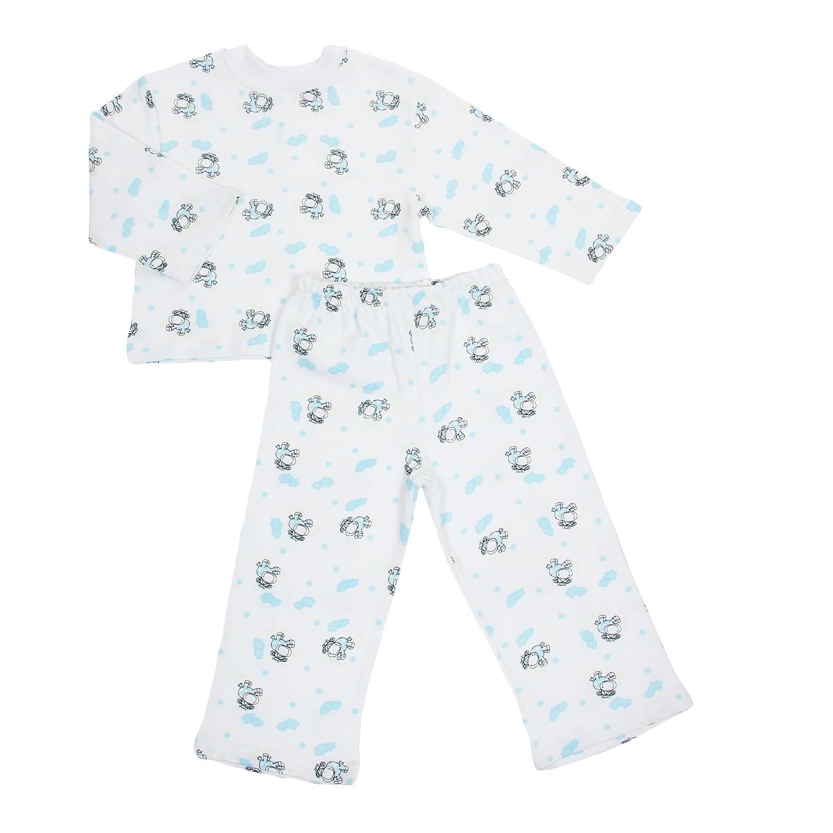 Пижама детская Трон-плюс, цвет: белый, голубой, рисунок коровы. 5553. Размер 110/116, 4-8 лет5553Яркая детская пижама Трон-плюс, состоящая из кофточки и штанишек, идеально подойдет вашему малышу и станет отличным дополнением к детскому гардеробу. Теплая пижама, изготовленная из набивного футера - натурального хлопка, необычайно мягкая и легкая, не сковывает движения ребенка, позволяет коже дышать и не раздражает даже самую нежную и чувствительную кожу малыша. Кофта с длинными рукавами имеет круглый вырез горловины. Штанишки на удобной резинке не сдавливают животик ребенка и не сползают.В такой пижаме ваш ребенок будет чувствовать себя комфортно и уютно во время сна.