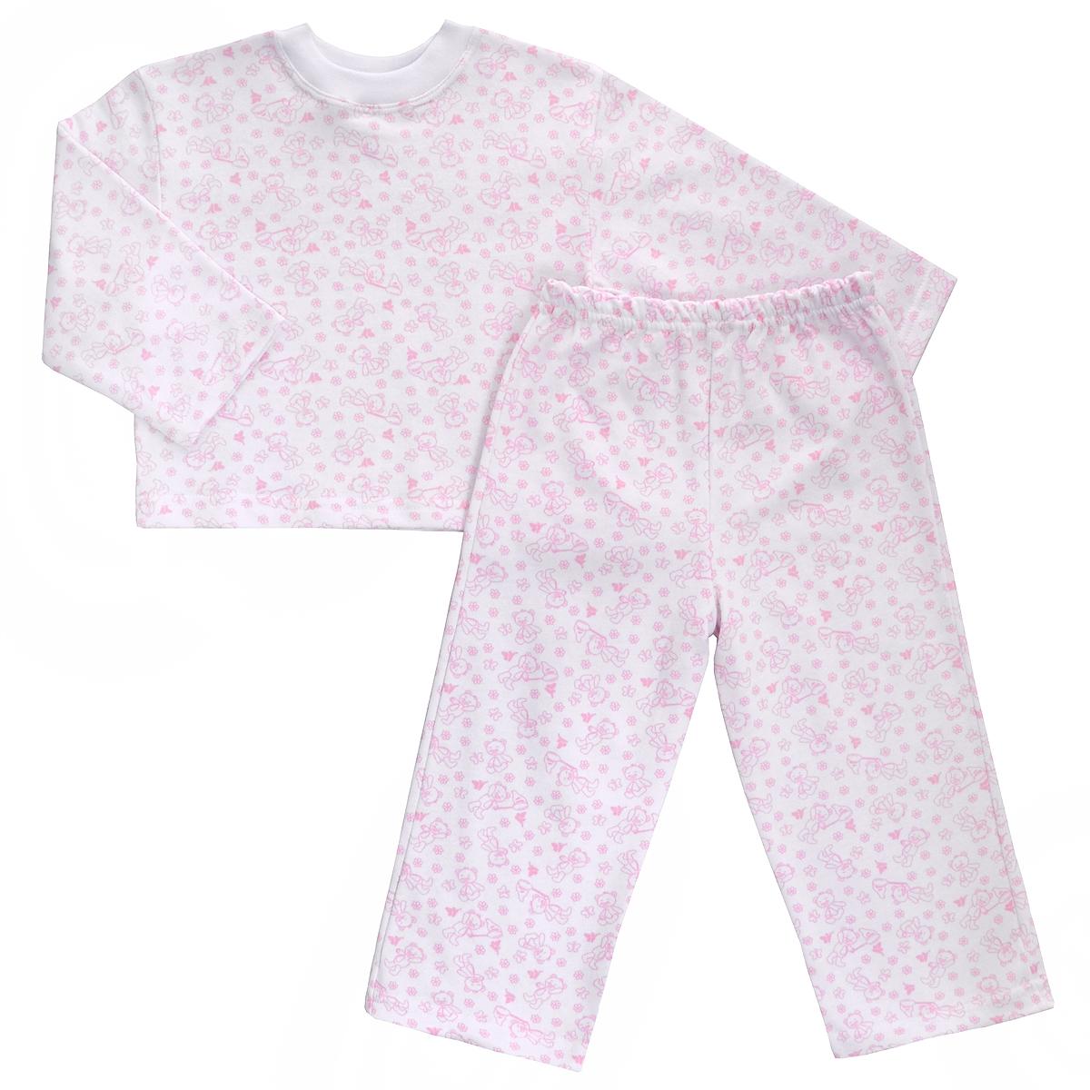 Пижама детская Трон-плюс, цвет: белый, розовый, рисунок мишки. 5553. Размер 80/86, 1-2 года5553Яркая детская пижама Трон-плюс, состоящая из кофточки и штанишек, идеально подойдет вашему малышу и станет отличным дополнением к детскому гардеробу. Теплая пижама, изготовленная из набивного футера - натурального хлопка, необычайно мягкая и легкая, не сковывает движения ребенка, позволяет коже дышать и не раздражает даже самую нежную и чувствительную кожу малыша. Кофта с длинными рукавами имеет круглый вырез горловины. Штанишки на удобной резинке не сдавливают животик ребенка и не сползают.В такой пижаме ваш ребенок будет чувствовать себя комфортно и уютно во время сна.