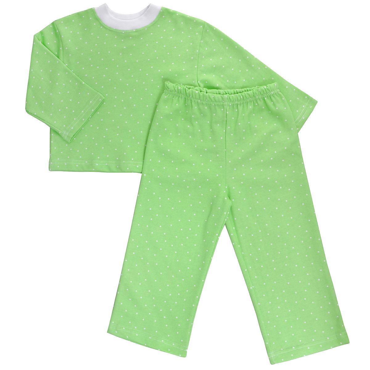 Пижама детская Трон-плюс, цвет: салатовый, белый, рисунок горох. 5553. Размер 122/128, 7-10 лет5553Яркая детская пижама Трон-плюс, состоящая из кофточки и штанишек, идеально подойдет вашему малышу и станет отличным дополнением к детскому гардеробу. Теплая пижама, изготовленная из набивного футера - натурального хлопка, необычайно мягкая и легкая, не сковывает движения ребенка, позволяет коже дышать и не раздражает даже самую нежную и чувствительную кожу малыша. Кофта с длинными рукавами имеет круглый вырез горловины. Штанишки на удобной резинке не сдавливают животик ребенка и не сползают.В такой пижаме ваш ребенок будет чувствовать себя комфортно и уютно во время сна.