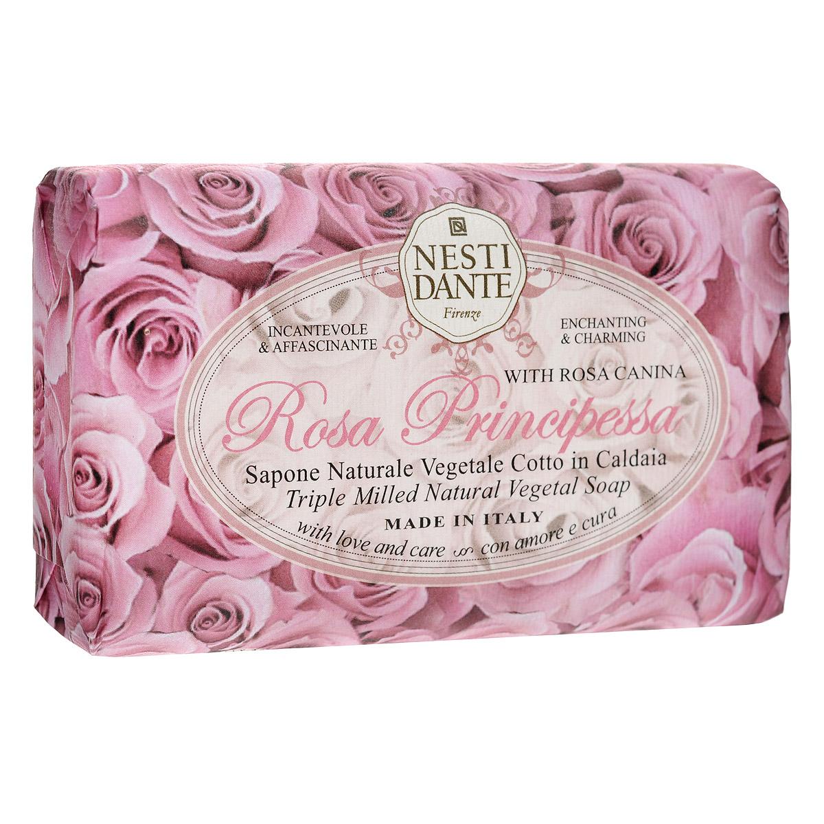 Nesti Dante Мыло Rose Principessa, 150 г1324106Мыло Nesti Dante Rose Principessa - нежное растительное мыло с мягким и романтичным ароматом розовых лепестков. Характеристики:Вес: 150 г. Артикул: 1324106. Производитель: Италия. Товар сертифицирован.