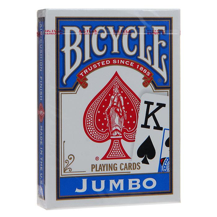 """Карты игральные Bicycle """"Jumbo"""", цвет: синий, 54 карты. 9105с"""