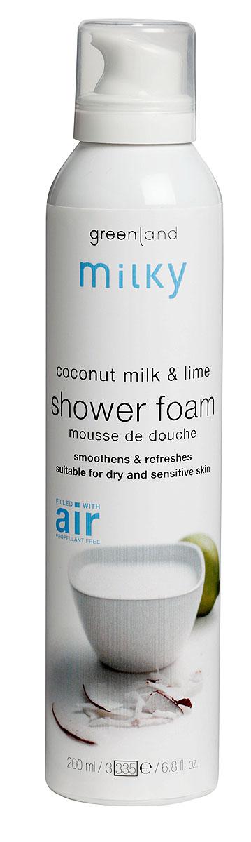 Greenland Мусс для душа Milky, с молочком кокоса и лаймом, 200 мл1257-MY22Легкий мусс для душа бережно очищает кожу, делая ее нежной и шелковистой. Эфирное масло лайма освежает и увлажняет кожу, арастительные жиры кокоса, делают ее невероятно мягкой. Способ применения:Наносите на влажную кожу массажными движениями, , а затем смойтеводой. Характеристики:Объем: 200 мл. Артикул: 1257-MY22. Производитель: Нидерланды. Товар сертифицирован.Состав: вода, содиум лаурил сульфат, кокамидопропил бетаин, бутан, натрия хлорид, пропилен гликоль, пропан, линалоол, этилендиаминтетрауксусная кислота, гексил циннамал, цитронеллол, сорбитол, глицерин, лимонен, ксантановая камедь, парфюмерная композиция, экстракт кокоса, экстракт лайма.