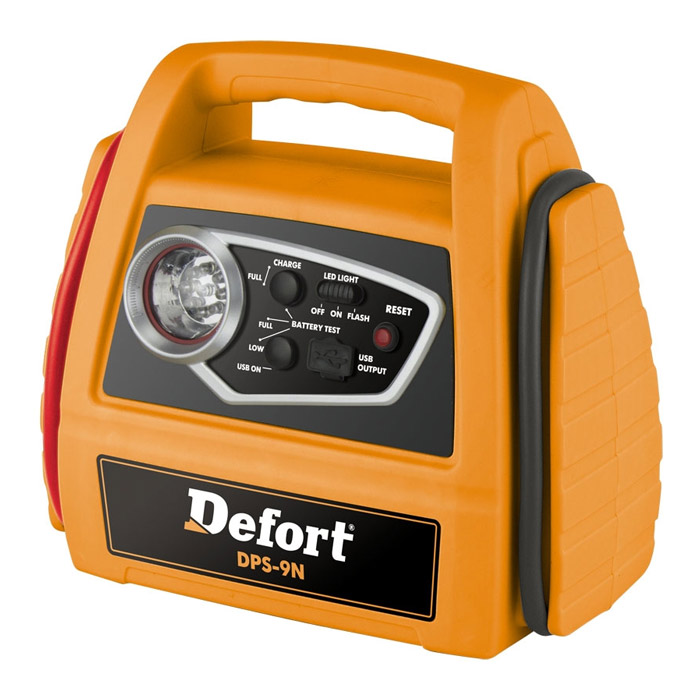 Станция энергетическая автомобильная Defort DPS-9N98293937Энергетическая автомобильная станция Defort DPS-9N предназначена для использования в качестве переносного источника питания, а также для запуска холодного автомобильного двигателя при частично разряженном штатном аккумуляторе. Станция оснащена USB портом для зарядки внешних устройств, индикатором зарядки и фонариком. Назначение зарядного устройства: пусковое. Напряжение аккумулятора: 12В.Мощность: 0,36 Вт. Емкость заряжаемого аккумулятора: 7 Aч.Максимально допустимая сила тока: 10 А.Пусковой ток: 120 А (не более 5 сек).Время зарядки: 15-25 ч.