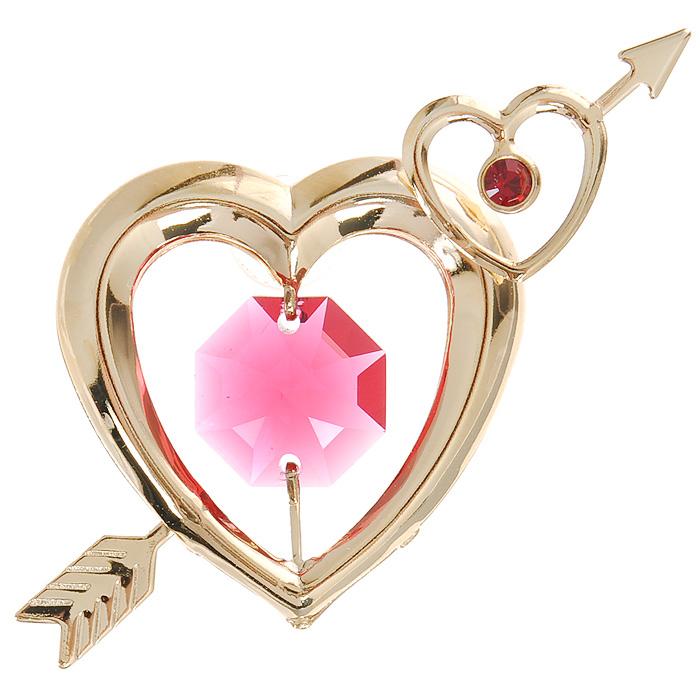 Фигурка декоративная Сердца, на присоске, цвет: золотистый, розовый. 6726267262Притягательный блеск и невероятная утонченность декоративной фигурки Сердца великолепно дополнят интерьер и, несомненно, не останутся без внимания. Фигурка выполнена из металла с блестящим золотистым покрытием в виде двух сердечек на присоске, украшена стразом и кристаллом Swarovski. Декоративная фигурка Сердца послужит прекрасным подарком ценителю изысканных и элегантных вещиц. Характеристики:Материал: металл, кристаллы Swarovski. Размер фигурки: 6 см х 0,5 см х 4 см. Цвет: золотистый, розовый. Артикул: 67262.