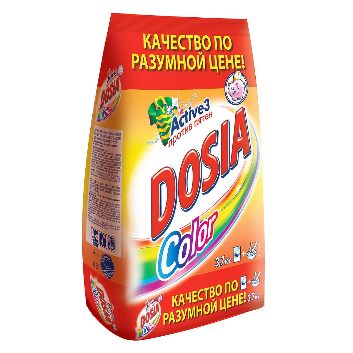 Стиральный порошок Dosia Color. Active 3, 3,7 кгBNC 401481 RUСтиральный порошок Dosia Color. Active 3 предназначен для стирки в стиральных машинах любого типа, также подходит для ручной стирки. Стиральный порошок содержит три активных компонента против различных пятен, которые: - воздействуют на волокна ткани и удаляют общие загрязнения; - удаляют сложные пятна; - не повреждают цвет вещей.Насладитесь идеальной чистотой и свежестью ваших вещей с новой Dosia! Характеристики: Вес: 3,7 кг. Производитель: Россия. Товар сертифицирован.