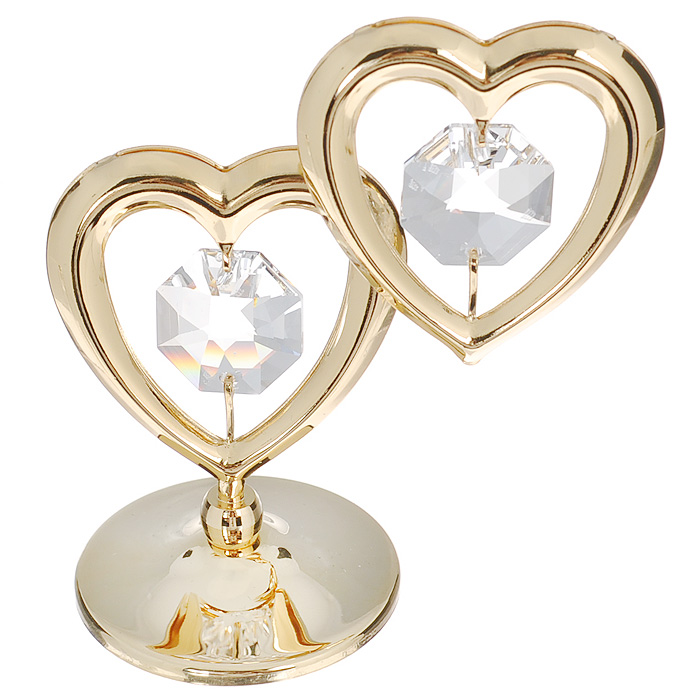 Фигурка декоративная Два сердца, цвет: серебристый, золотистый. 6708267082Притягательный блеск и невероятная утонченность декоративной фигурки Два сердца великолепно дополнят интерьер и, несомненно, не останутся без внимания.Фигурка выполнена из металла с блестящим золотистым покрытием в виде двух сердечек на шаровидной подставке и украшена двумя крупными кристаллами Swarovski.Декоративная фигурка Два сердца послужит прекрасным подарком ценителю изысканных и элегантных вещиц. Характеристики:Материал: металл, кристаллы Swarovski. Размер фигурки: 6 см х 0,5 см х 7 см. Цвет: серебристый, золотистый. Артикул: 67082.