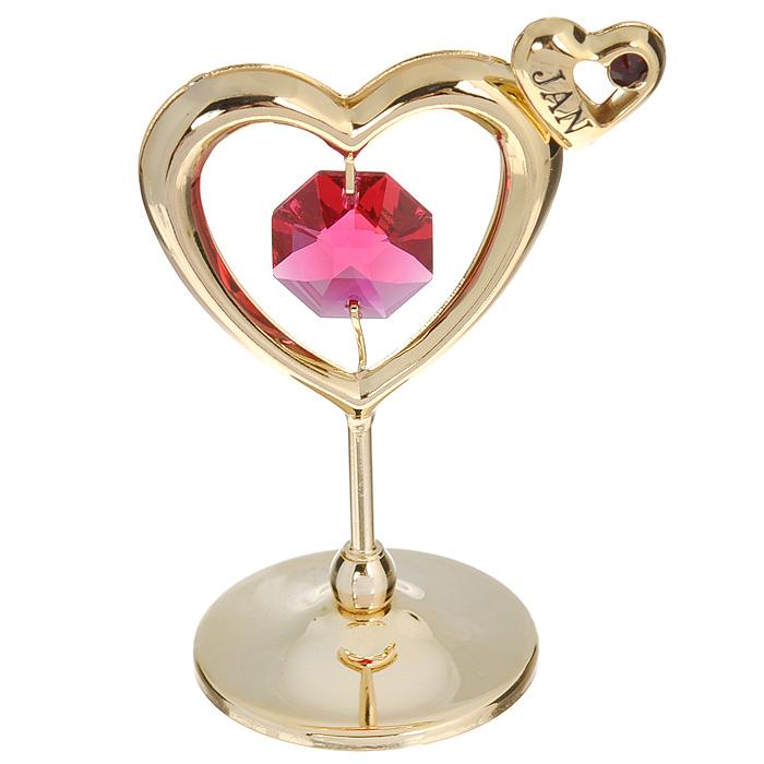 Держатель для визиток Сердечко, цвет: золотистый, розовый. 67537