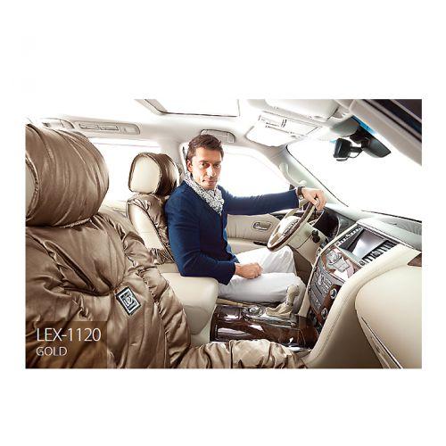 Накидки на сиденья Lex, экокожа, цвет: золотистый, 7 предметов. LEX-1120 GOLDLEX-1120 GOLDНакидки на автомобильные сиденья премиум-класса Lex способны добавить роскоши интерьеру даже самых респектабельных автомобилей. Накидки изготовлены из высококачественной экокожи, которая выполнена на основе текстиля с напылением из полиуретана. Полиуретан имитирует структуру натуральной кожи, но при этом обладает дышащими свойствами и устойчивостью к внешнему воздействию. В качестве наполнителя в накидках Lex используется синтепон, который хорошо сохраняет форму и обеспечивает комфорт водителя и пассажиров во время поездок. Накидки на кресла Lex отличаются большой универсальностью и без усилий устанавливаются на любые кресла. В спинках передних сидений имеются карманы. Имеется возможность использования с боковыми airbag.Комплектация:- 1 накидка на задний ряд, - 2 накидки переднего ряда, - 4 подголовника,- набор фиксирующих крючков на широких резинках.Особенности: Наполнитель - синтепонКарманы в спинках передних сиденийПредустановленные крючки на широких резинкахИспользование с боковыми airbag