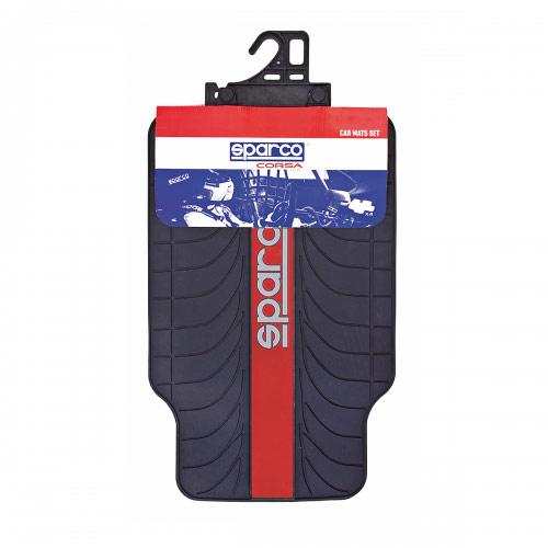 Ковры автомобильные Sparco Racing, ПВХ, морозоустойчивые, цвет: черный, красный, 4 предмета sparco одежда